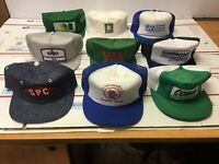 Lot of 9 Vintage Trucker Hat Cap Snapback Mesh Patch Baseball Hats