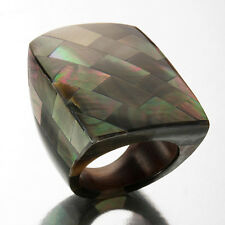 Black Shell Mosaic Knuckle Ring ~ Size 9 (SOPHISTICATED) [MSRP~$269]