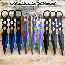 "3 PC 8"" Tactical Ninja Combat Naruto Kunai Throwing Knife Set Hunting + Sheath"