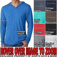Mens Tri Blend Long Sleeve Hooded T-Shirt Hoodie Tee S, M, L, XL, 2XL NEW!