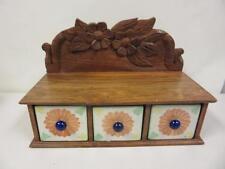 Wooden Carved Desk Organize Jewelry Holder Floral 3 Drawer Decorative Display
