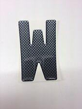 3D Gel Domed Digit Domed DIY Registration Reg Number Plate CARBON Letter W