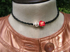 Day of the Dead Choker red flower cream skull black glass wrap around necklace