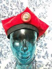 Vintage hat pin metal and red enamel