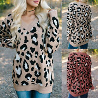❤️ Women's Leopard Print Knitted Sweater Tops Ladies Long Sleeve Jumper Pullover