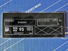 """Mercedes Sticker """"Unleaded Fuel"""" W203 W204 W205 W211 W212 W213 W220 W221 W222"""