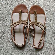 Dorothy Perkins Tan Embellished Strappy Sandals Flip Flop Shoes Size 5 Wide Fit