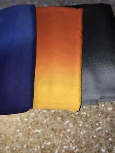 SARONG - BEACH COVER UP - Two Tone BLUE - ORANGE/YELLOW - BLK/GREY