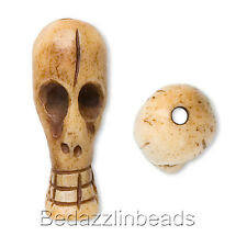 Big Distorted Long Skeleton Skull Bead Hand Carved with Genuine Antiqued Bone