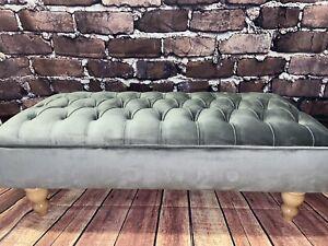 Grey plush velvet chesterfield stool footstool coffee table large ....