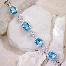 "25Ct Blue & White Topaz Victorian Style Silver Bracelet 7"" Gbr226"