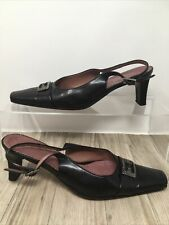 Italian Black Leather Sling Back Heels with Buckle Square Toe UK Size 4 VGC