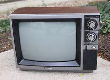 """Vtg 1990 EMERSON 13"""" Retro Color TV -CRT, Faux Wood Grain, Knobs, Dials"""