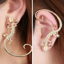 1PC Crystal Rhinestone Ear Cuff Earrings Luxury Gecko Stud Earrings Personality
