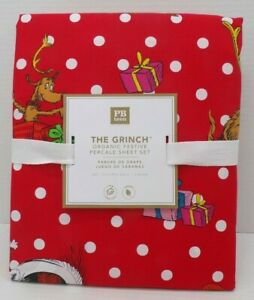 Pottery Barn Teen Grinch Holiday Festive Percale Sheet Set Full Red #9745J