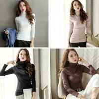 Fashion Women TURTLENECK Tops Cotton Blouse T-shirt Long Sleeve Slim Jumper P9J7