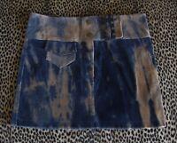 RARE Distress~Fray~Bleach~Acid~Wash Denim Blue Brown Cord Velvet Stud Mini Skirt