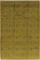 Soft Plush Little Characters/Animal Tribal Gabbeh Hand-Knotted Area Rug 5'x8'