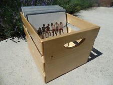 Hand Built Record LP Vinyl Crate Storage Solid Wood - Golden Oak