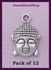 12 Antique Silver Colour 22 x 15mm Spiritual Peace Buddha Head Charms