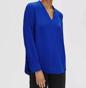 Eileen Fisher Royal Silk Hi V Neck Long Sleeve Tunic Size SM $278
