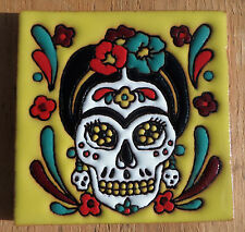 """Talavera Mexican tile 4"""" Day of  the Dead high relief Frida Kahlo yellow flowers"""