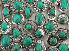 Wholesale Bulk Lots 50pcs Women Jewelry Big Green Natural Stone Adjustable Rings