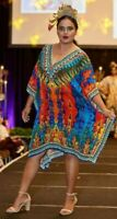 Red Kaftan Plus Size 5XL  Caftan Viscose crepe Embellished Resort Wear