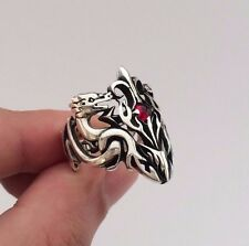 Turkish Jewelry Cool Double Dragon Motif 925K Sterling Silver Men's Ring