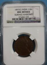1897(c) India 1/4 Anna NGC UNC Details