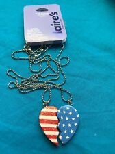 One Pair Of Claire's Best Friends Red White And Blue Magnetic Heart Necklaces