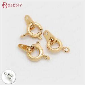 4PCS 6x9MM 24K Gold Color Brass Necklace Spring Round Clasps Jewelry Accessories