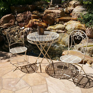 NEW! 3 PIECE VERSAILLES ANTIQUED HEAVY IRON FOLDING BISTRO SET -2 CHAIRS + TABLE