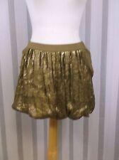 Generra gold silk and sequin skirt size 2 bubble hem mini 2 pockets burning man