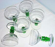 6 STUNNING VINTAGE RETRO GREEN STEMMED GLASS SMALL LIQUOR GLASSES 8.5cm HIGH