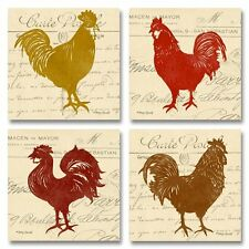 NEW Vintage Postcard Tuscan Roosters; Four 12x12in Paper Posters