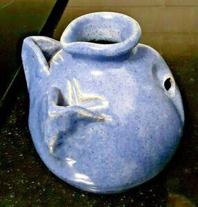 North Cole Pottery Blue Speckled Glaze Hanging Planter Pot Sanford NC 1999