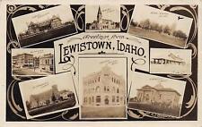 RPPC LEWISTOWN ID Idaho Greetings Union Depot Lewiston Churches Postcard c1910s