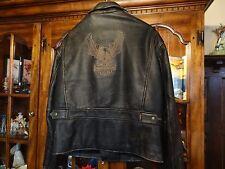 Vintage Harley Davidson D-Pocket Eagle Distressed Leather Jacket Mens Size Large