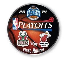 2021 NBA Rond 1 Collecteur Broche Milwaukee Bucks Vs. Miami Heat Playoffs Champs