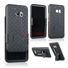 HTC 10 M10 ONE SLIM SHELL HOLSTER BELT CLIP COMBO CASE COVER WITH KICKSTAND NEW