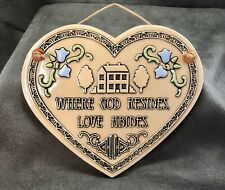Trinity Pottery Heart Wall Hanging Tile Plaque ~ Where God Resides Love Abides ~
