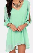 Women's Bare Shoulder Split Sleeve Hi-lo Flowing Tunic Top Light Green Large