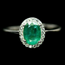 NATURAL GREEN EMERALD & WHITE CZ RING 925 STERLING SILVER SIZE8.75