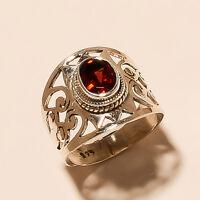 3.70 Gm Natural Garnet Ring Gemstone 925 Solid Sterling Silver Ring 6.2 i-1981