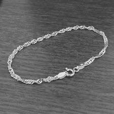 Genuine 925 Sterling Silver 2.4mm Twisted Curb Singapore Chain Bracelet / Anklet