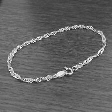Genuine 925 Sterling Silver 2.4mm Twisted Curb Singapore Chain Bracelet