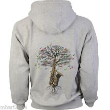 Saxophone Hoody Musical Tree Saxophonist in sizes Kids to XXL