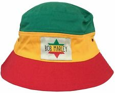 Bob Marley Star Patch Tri Color Bucket Hat Cap Adult Small New Official Merch