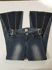 Z Cavaricci NWOT Womens Size 0 Dark Wash Crazy Flare Embellished Jeans 28 x 29